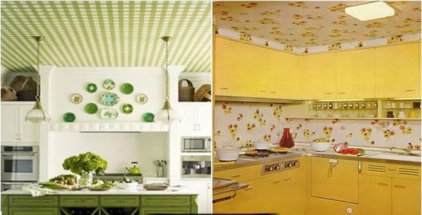 Обои для потолка на кухне: идеи дизайна, обзор с фото