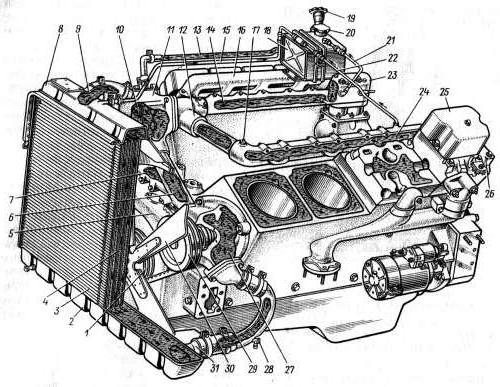 схема двигателя КамАЗ 740,