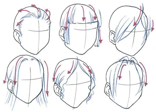 как рисовать волосы аниме