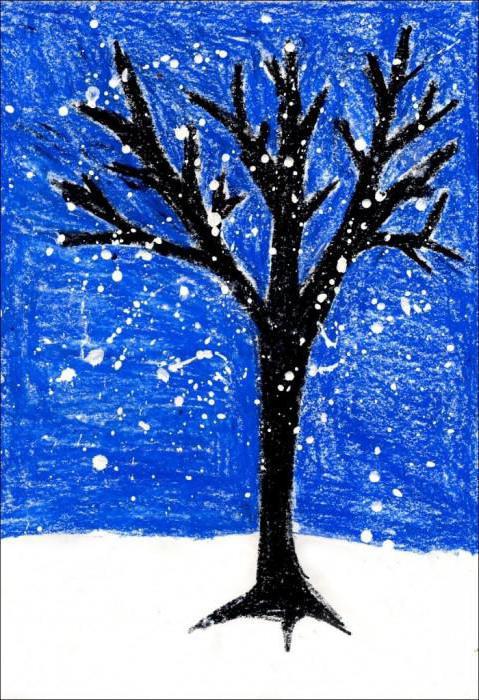 рисование зима старшая группа