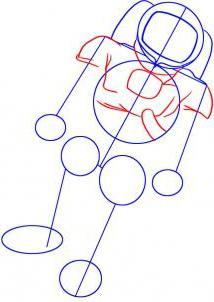 как нарисовать космонавта карандашом