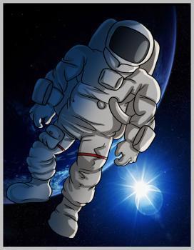 космонавт, раскрашенный в программе Photoshop