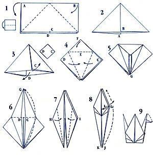 Фото как сделать журавлика из бумаги