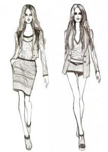 Как нарисовать моделей в платье