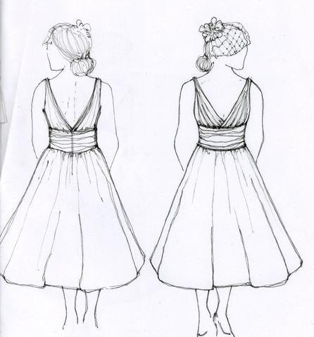 Рисунки дизайна платья