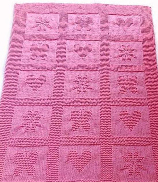 вязаное одеяло на выписку