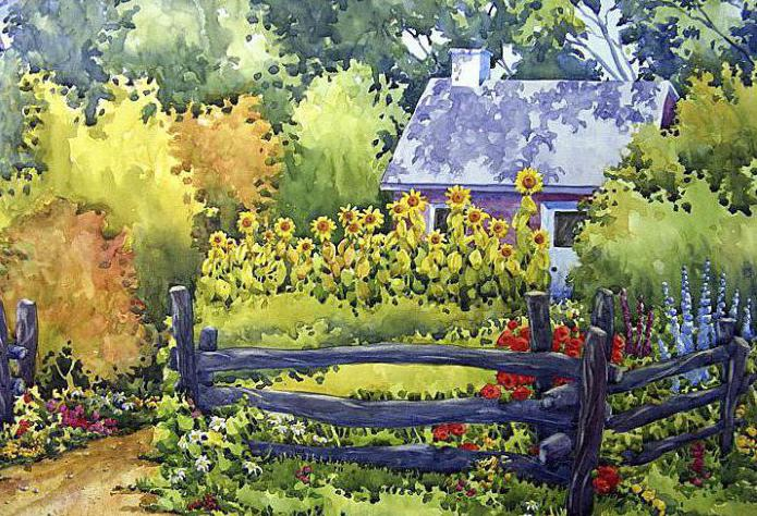 How to draw the garden: stages of work