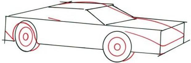 как нарисовать машину поэтапно
