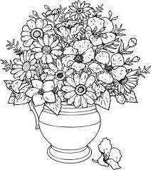 Рисунок ваза с цветами карандашом