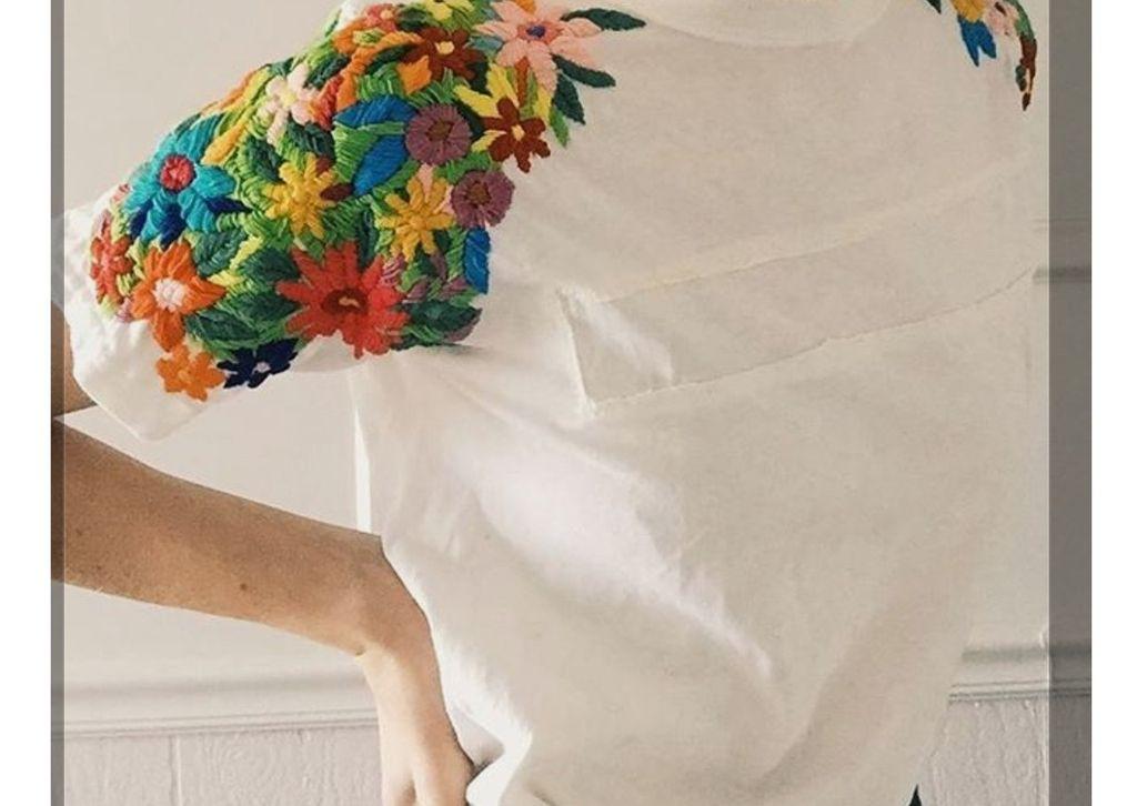 Вышивка на футболке нитками мулине