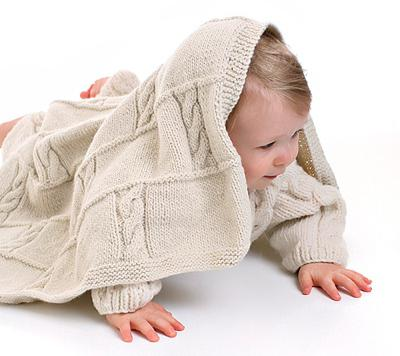 вязание детского пледа спицами