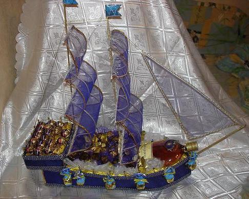 корабль из конфет пошаговая инструкция