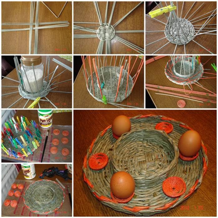 пасхальная подставка для яиц и пасхи из газетных листов