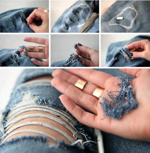 Как сделать дырки на джинсах своими руками 86