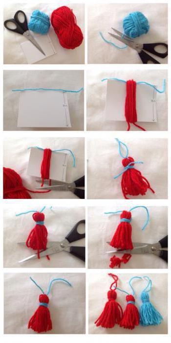 как сделать помпоны из пряжи быстро фото