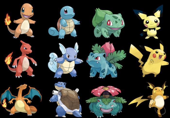виды покемонов и их эволюция