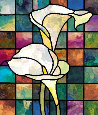 витражные рисунки цветов