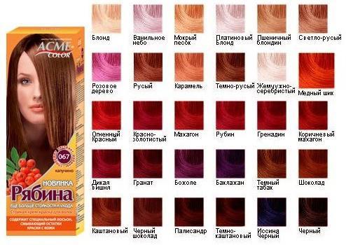 Краска для волос рябина: палитра цветов, отзывы