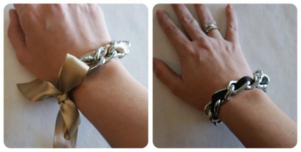 какие браслеты можно сделать из лент и цепочек