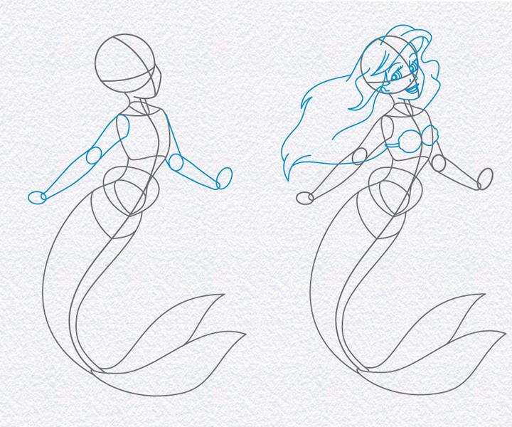 Картинки как нарисовать русалок карандашом поэтапно открыла