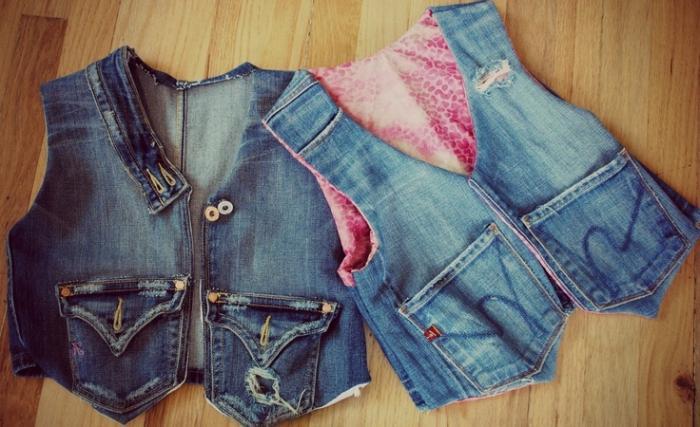жилетка из старых джинсов
