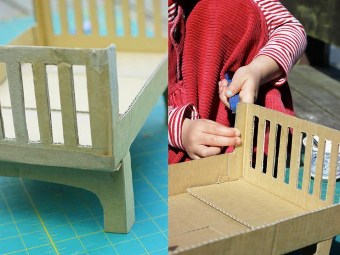 кроватка для кукол из картона