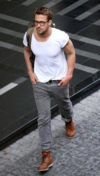 Серые обтягивающие секс джинсы