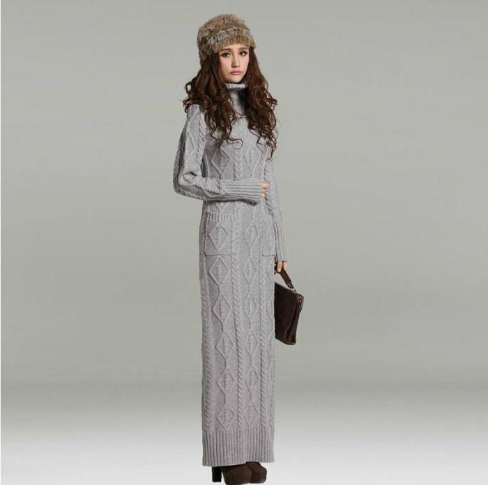 Вязаное длинное платье с чем носить