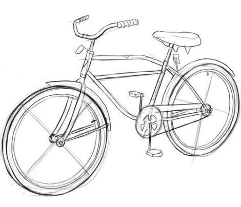 как нарисовать велосипед поэтапно