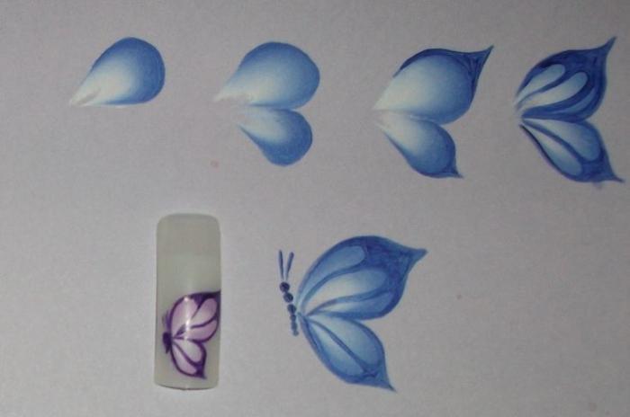 Рисунок бабочки пошагово на ногтях