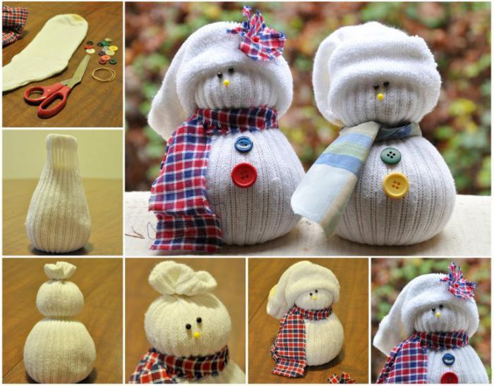 Снеговик своими руками из носка пошаговое фото