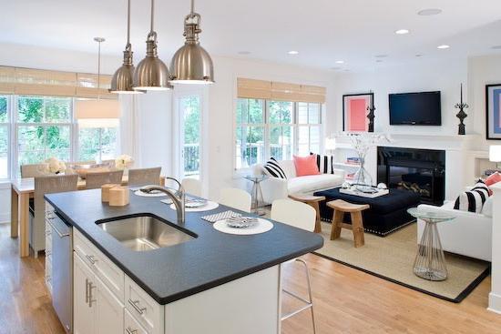 дизайн комнаты совмещенной с кухней