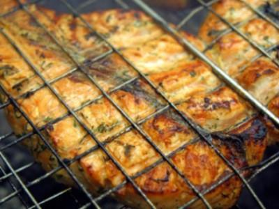 стейк из семги на мангале