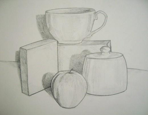 рисуем натюрморт карандашом поэтапно