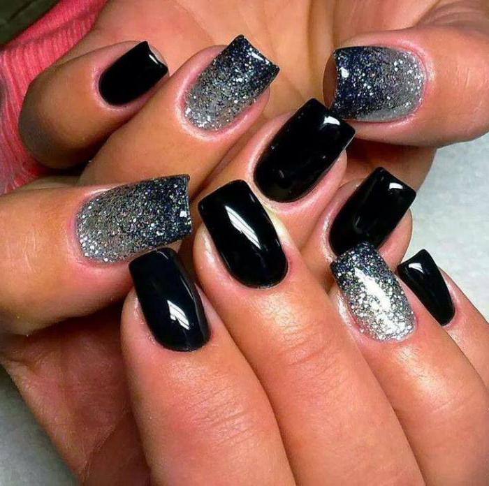 дизайн черных ногтей