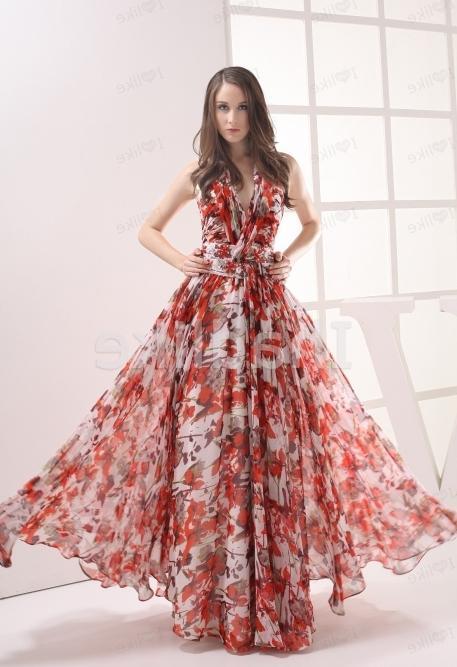 Летнее платье в пол с цветочным