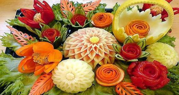 карвинг композиции овощей и фруктов