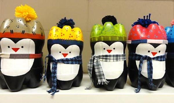 Поделка пингвинов из пластиковых бутылок 655