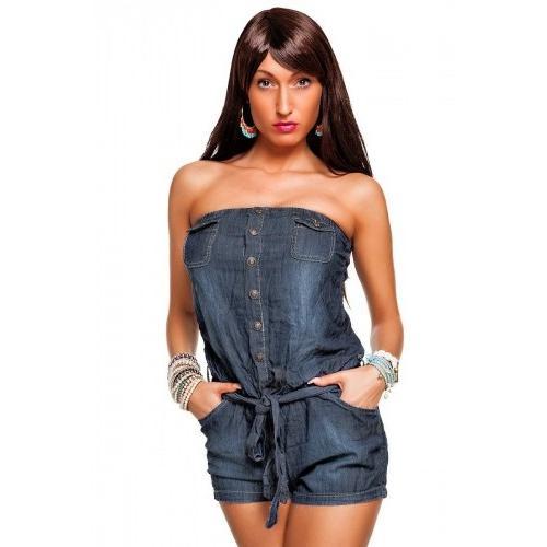 Джинсовый комбинезон женский с шортами