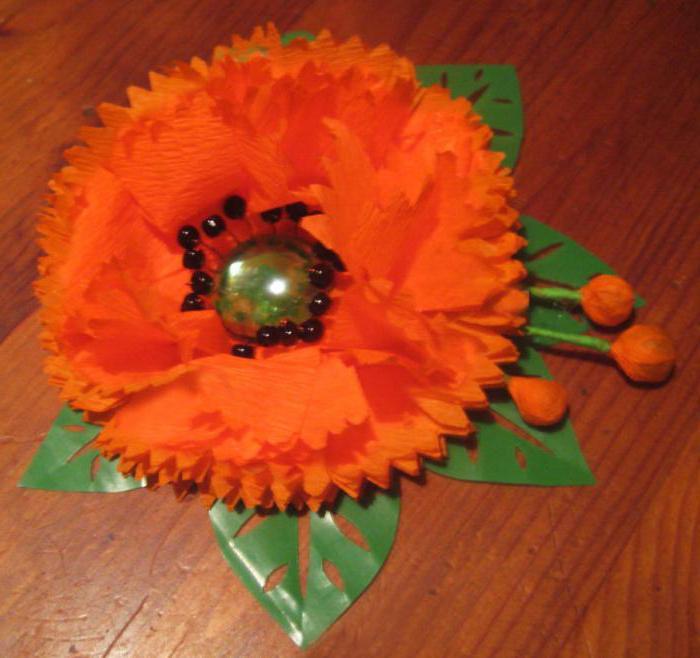 цветы из гофрированной бумаги (маки )