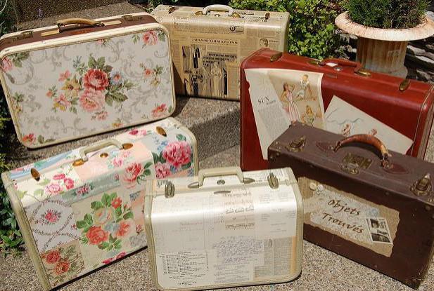 декупаж чемодана в стиле винтаж