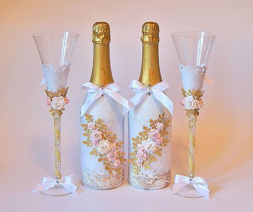украшение бутылок на свадьбу своими руками
