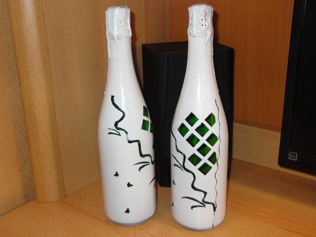 украшение бутылок шампанского на свадьбу своими руками
