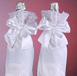 украшения на бутылки шампанского на свадьбу фото