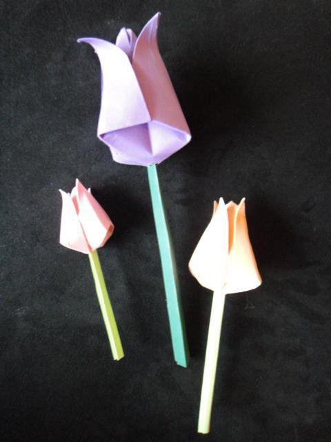 оригами из бумаги тюльпан схема