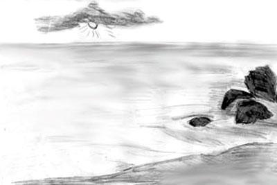 как рисовать море
