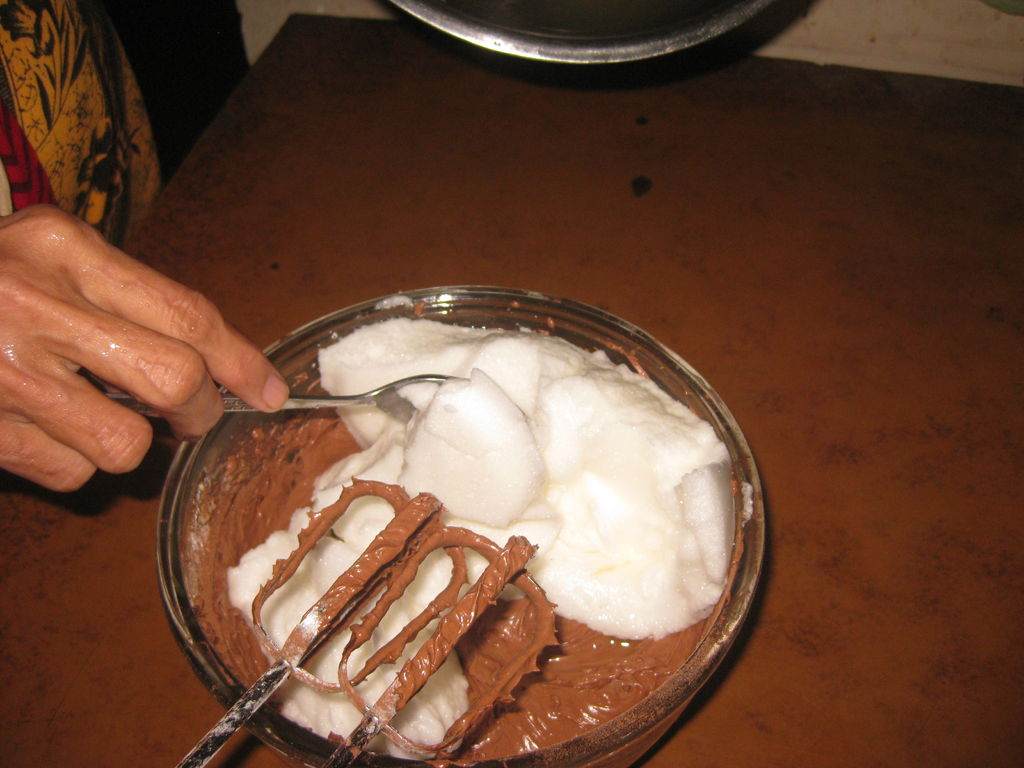 Cooking chocolate sponge cake on proteins.