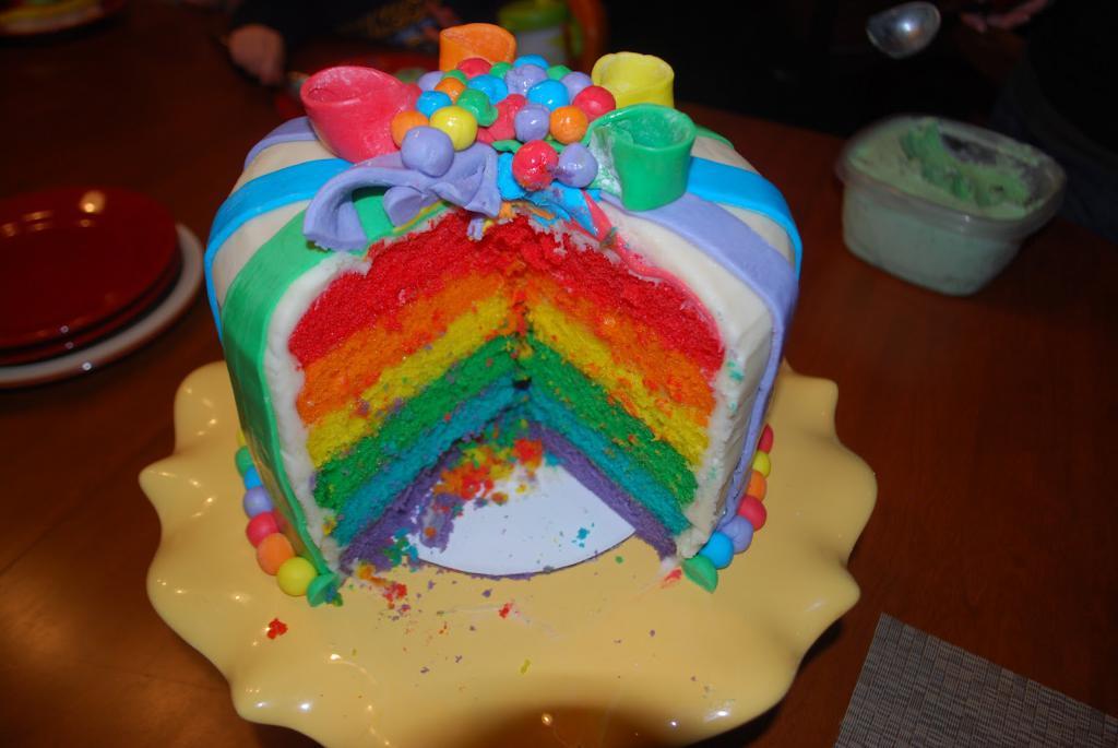 Торт-радуга для девочки на 4 года