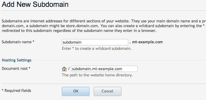 Create a new subdomain.