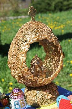 пасхальное яйцо из макарон поэтапно